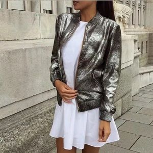 Zara M 12 Metallic Crackle Bomber Jacket Full Zip